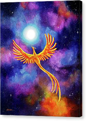 Soaring Firebird In A Cosmic Sky Canvas Print by Laura Iverson