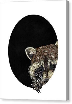 Socially Anxious Raccoon Canvas Print by ZH Field