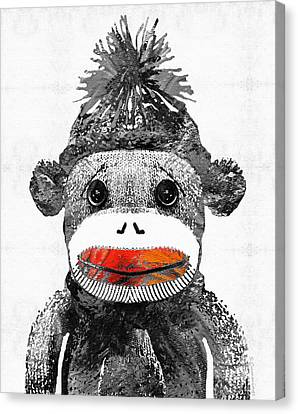 Sock Monkey Art In Black White And Red - By Sharon Cummings Canvas Print by Sharon Cummings
