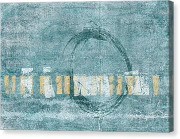 Soft Blue Enso Circle Canvas Print by Carol Leigh