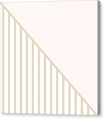 Soft Blush And Champagne Stripe Triangles Canvas Print by Linda Woods