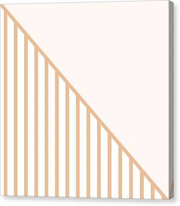 Soft Blush And Coral Stripe Triangles Canvas Print by Linda Woods