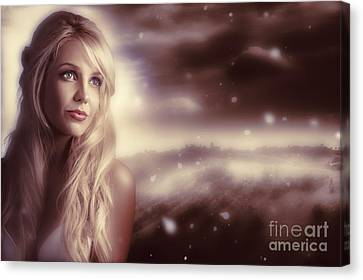 Soft Young Elegant European Woman In Winter Snow  Canvas Print by Jorgo Photography - Wall Art Gallery