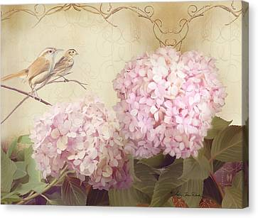 Softly Summer - Carolina Wrens W Blush Pink Hydrangeas Canvas Print by Audrey Jeanne Roberts