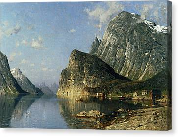 Sogne Fjord Norway  Canvas Print by Adelsteen Normann