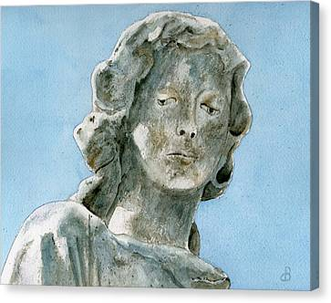 Solitude. A Cemetery Statue Canvas Print by Brenda Owen