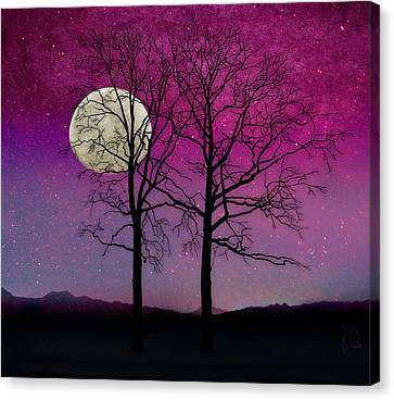 Solitude II Harvest Moon, Pink Opal Sky Stars Canvas Print by Tina Lavoie