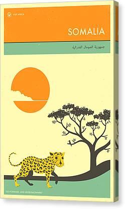 Somalia Travel Poster Canvas Print by Jazzberry Blue