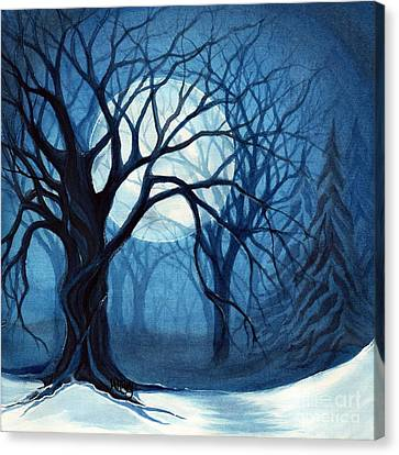 Something In The Air Tonight - Winter Moonlight Forest Canvas Print by Janine Riley