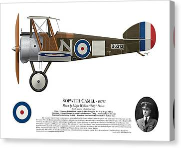 Sopwith Camel - B6313 March 1918 - Side Profile View Canvas Print by Ed Jackson