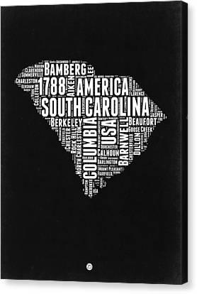 South Carolina Black And White Map Canvas Print by Naxart Studio