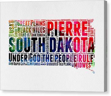 South Dakota Watercolor Word Cloud Canvas Print by Naxart Studio