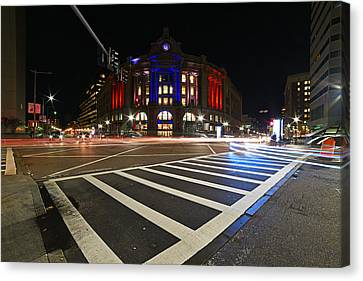 South Station Boston Ma Movement In The Night In Red, White And Blue Canvas Print by Toby McGuire