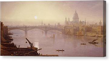 Southwark Bridge And St. Paul's Cathedral From London Bridge  Evening Canvas Print by George Fennel Robson