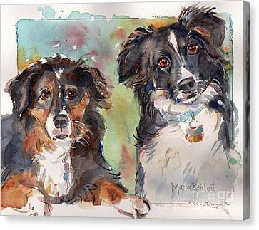 Sox And Vinny Canvas Print by Maria's Watercolor
