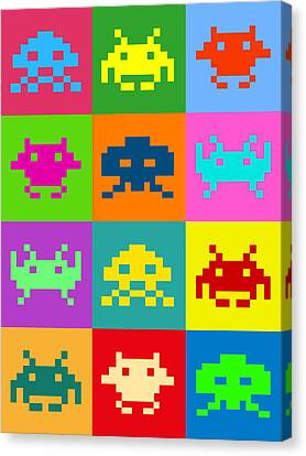Space Invaders Squares Canvas Print by Michael Tompsett