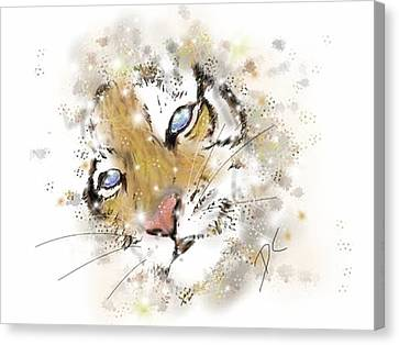 Space Lion Cub White Canvas Print by Darren Cannell
