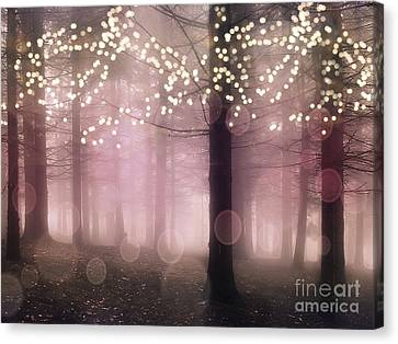 Sparkling Fantasy Fairytale Trees Nature Pink Woodlands - Sparkling Lights Bokeh Fantasy Trees Canvas Print by Kathy Fornal