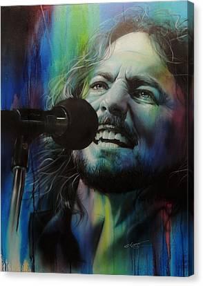 Eddie Vedder - ' Spectrum Of Vedder ' Canvas Print by Christian Chapman Art