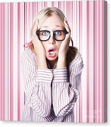Speechless Nerd Covering Ears In Silent Shock Canvas Print by Jorgo Photography - Wall Art Gallery