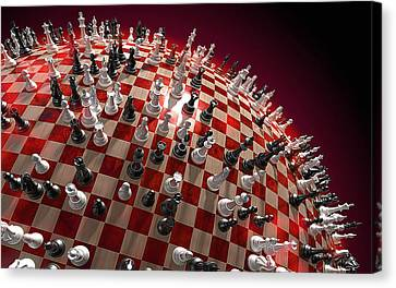 Spherical Chess Board World Canvas Print by Jovemini ART