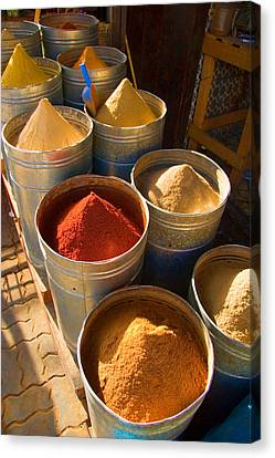 Spices In Marrakesh Morroco Canvas Print by David Smith
