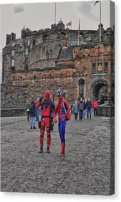 Spidey And Deadpool At Edinburgh Castle Canvas Print by Steffani Cameron
