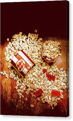 Spilt Tubs Of Popcorn And Movie Tickets Canvas Print by Jorgo Photography - Wall Art Gallery