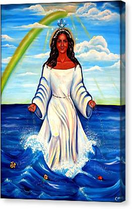 Spiritual Yemaya -goddess Of The Sea Canvas Print by Carmen Cordova