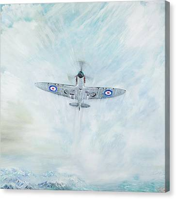 Spitfire   Ace Of Spades Canvas Print by Vincent Alexander Booth