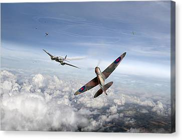 Spitfire Attacking Heinkel Bomber Canvas Print by Gary Eason