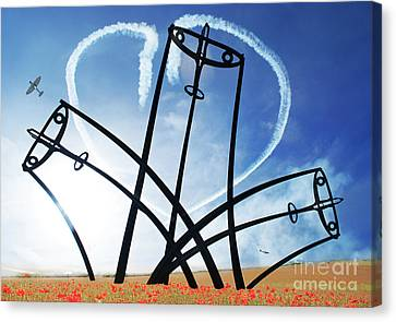 Spitfire Sentinel In The Field Of Poppies  Canvas Print by Eugene James
