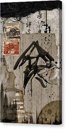 Splattered Ink Postcard Canvas Print by Carol Leigh