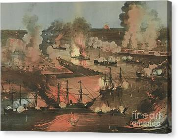 Splendid Naval Triumph Of The Mississippi Canvas Print by American School