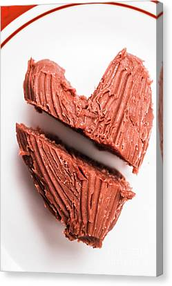 Split Hearts Chocolate Fudge On White Plate Canvas Print by Jorgo Photography - Wall Art Gallery