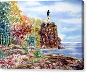 Split Rock Lighthouse Canvas Print by Deborah Ronglien
