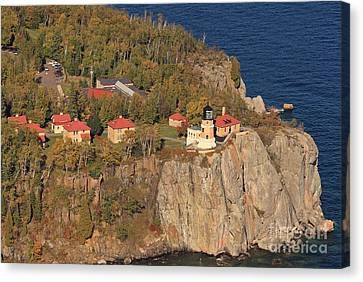 Split Rock Lighthouse Fall Aerial View Canvas Print by Tammy Wolfe