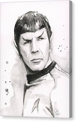 Spock Portrait Canvas Print by Olga Shvartsur