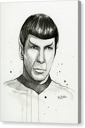 Spock Watercolor Portrait Canvas Print by Olga Shvartsur