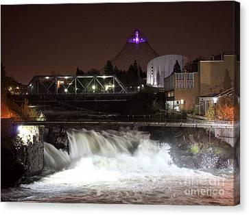 Spokane Falls Night Scene Canvas Print by Carol Groenen