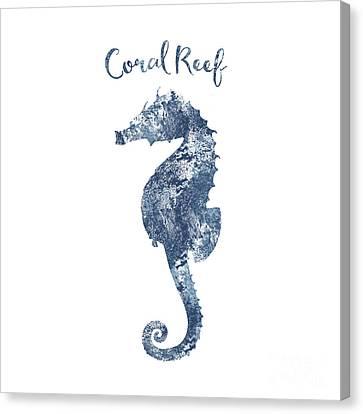 Sponge Painted Seahorse Coral Reef Silhouette, Delft Blue Nautical Art Canvas Print by Tina Lavoie
