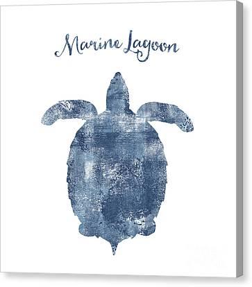 Sponge Painted Turtle Marine Lagoon, Delft Blue Nautical Art Canvas Print by Tina Lavoie