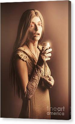 Spooky Vampire Girl Drinking A Glass Of Red Wine Canvas Print by Jorgo Photography - Wall Art Gallery