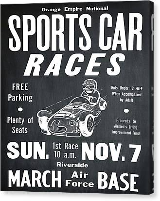 Sports Car Races In Chalk Canvas Print by Bill Cannon