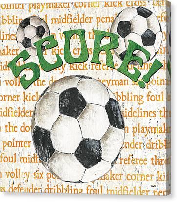 Sports Fan Soccer Canvas Print by Debbie DeWitt
