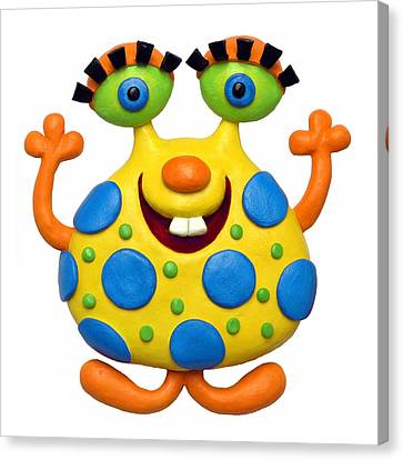 Spotted Yellow Monster Canvas Print by Amy Vangsgard
