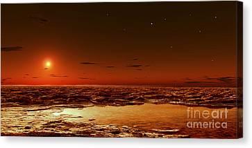 Spring Arrives Near The Martian Polar Canvas Print by Frank Hettick