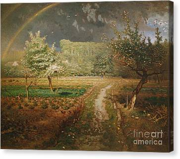 Spring At Barbizon Canvas Print by Jean Francois Millet