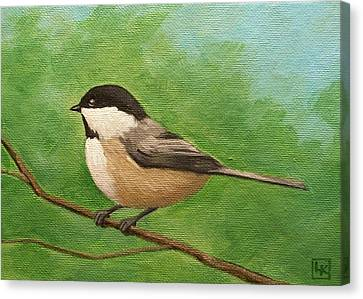 Spring Chickadee Canvas Print by Lisa Kretchman