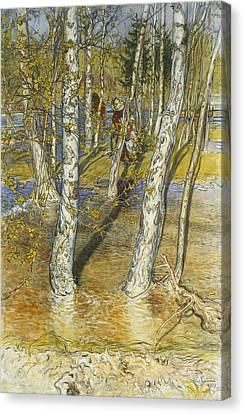 Spring Flood Canvas Print by Carl Larsson